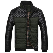 2016 New Classic Brand Men Fashion Warm Jackets Plus Size L-4XL Patchwork Plaid Design Young Man Casaul Winter Coats, EDA0116