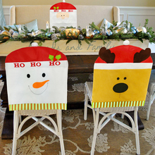 Removable Chair Cover Elastic Slipcovers Cartoon Christmas Chair Cover Weddings Banquet Folding Hotel Chair Covering Table Decor