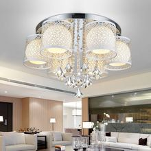 Modern glass ball E27 Ceiling light fixture home deco chrome iron colorful LED backlight ceiling lamp dining room crystal lamp