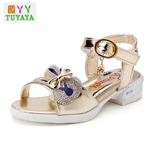 Bling Kids Sandals Girls Summer Style 2017 New Bow Dance Shoes for Girls Princess Fish Head Kids Shoes Girls Party Sandals