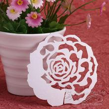 50pcs Rose Flower Hollow Party Wedding Table Decoration Wine Glass Name Place Card Wedding Party Laser Cut Flower White