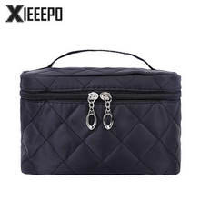 Women Travel Cosmetic Bag Large Capacity Diamond Lattice Makeup Case Zipper Make Up Bags Organizer Storage Pouch Toiletry Bags