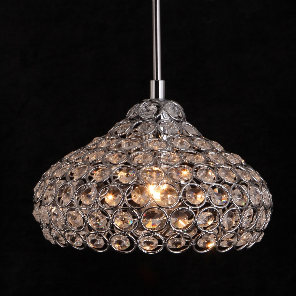 Modern Stainless Steel Crystal Pendant Lights Bedroom Lamps E14 Luster Light Crystal Restaurant Pendant Lamps WPL041<br>