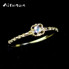 Aitunan Vintage Sculpt 925 Sterling Silver Moonstone Rings For Women Natural Stone Gold Color Wedding Ring Jewelry Accessories(China)