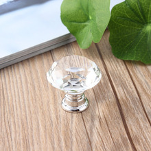 10Pcs/pack 30mm Diamond Shape Crystal Glass Drawer Cabinet Knobs and Pull Handles Kitchen Door Handles Wardrobe Hardware(China)