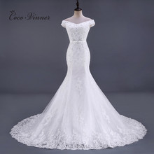 C.V Sleeve Less Crystal Beading Lace Mermaid Wedding Dress Chapel Tail  Floor Length Ivory Color Training Wedding Bridal gown