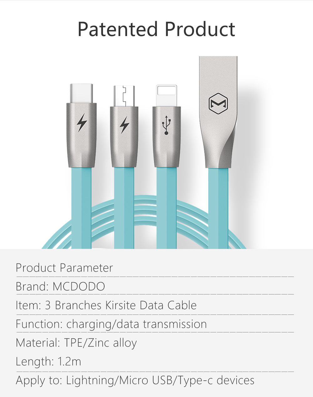 Mcdodo 3 in 1 Kirsite Data Cable for Lightning Micro USB Type-C Fast ...