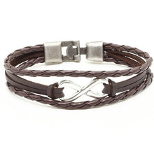 New Handmade Fashion Trendy Vintage Handmade Infinite Infinity Bracelet Punk Men Leather Bracelet For Women Jewelry Accessory