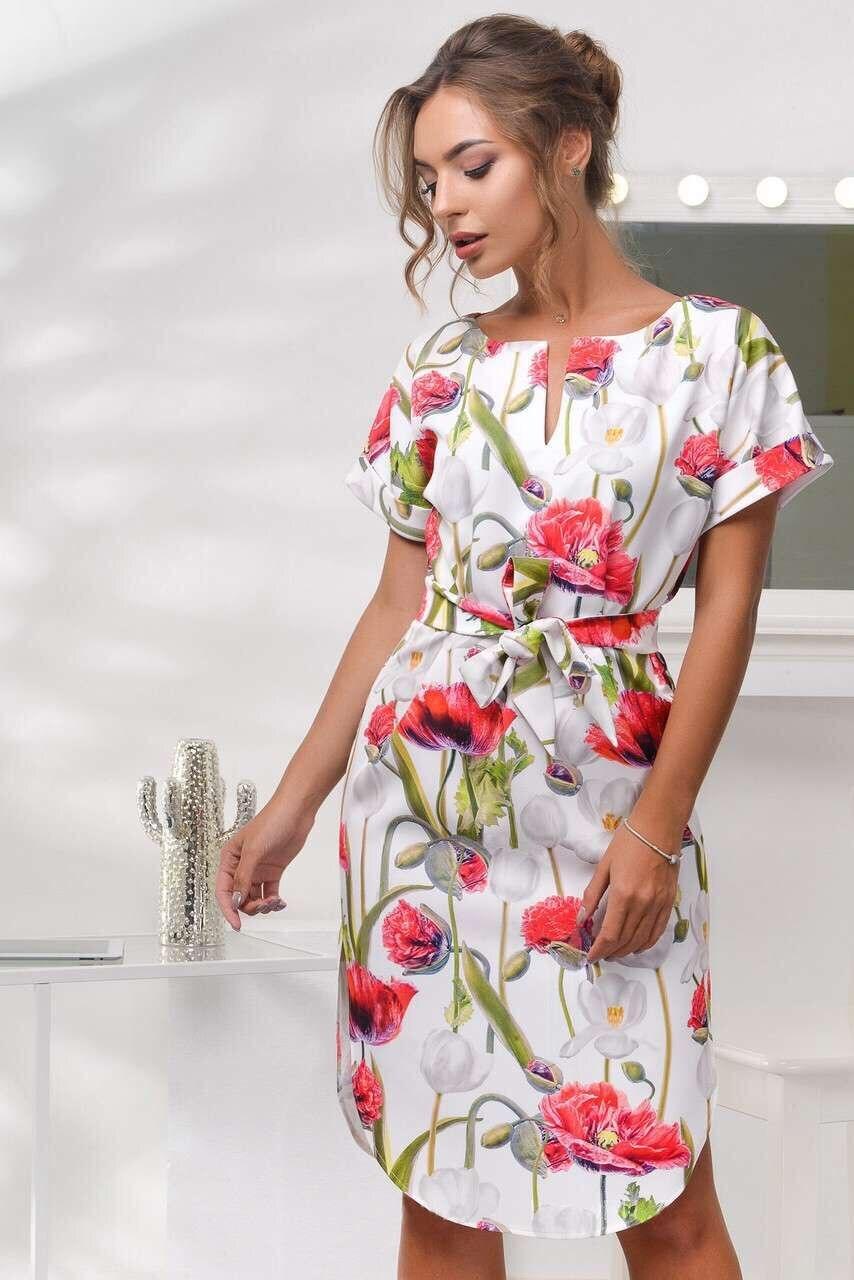 2018 Spring Summer Printed Women Dress O-Neck Hem Side Split Ladies Dresses Tie Sashes Short Sleeve Casual Sexy Female Vestidos 3