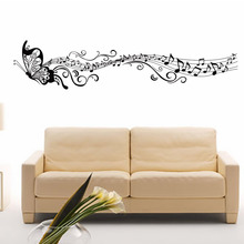 AWOO Music Sticker Butterfly Theme Music Bedroom Decor & Dancing Music Note Removable Wall Sticker(China)