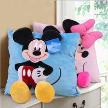 2 style 35cm cartoon 3D Mickey and Minnie Mouse Plush Pillow plush cushion soft stuffed toys for children gifts