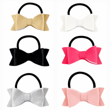 3 Inch Boutique Bowknot Hair Bow Synthetic Leather Bows Elastic Hair Bands Ponytail Hair Holder For Kids Girls(China)