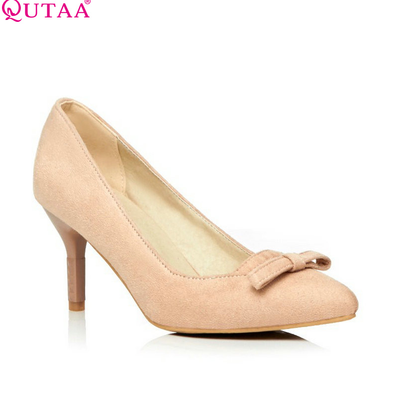 QUTAA Scrub Beige Woman Pumps Thin High Heel Ladies Shoes Pointed Toe Bow Tie Women Wedding Shoes Size 34-43<br><br>Aliexpress