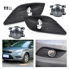 CITALL High Quality H11 12V 55W 2pcs Front Left & Right Side Bumper Fog Light Lamp + 2pcs Grille Cover Kit For Ford Fiesta 2014(China)