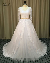 Liyuke Vintage Lace Appliques Ball Gown Wedding Dresses Three Quarter V-Neck Beading Sash Romantic Bride Dress robe de marriage