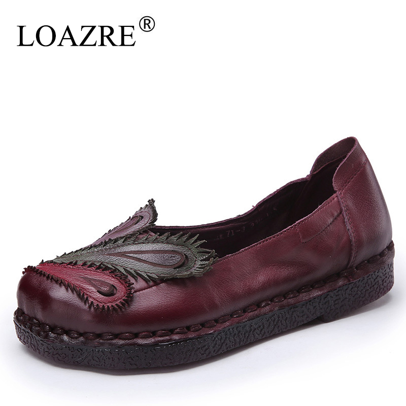 LOAZRE 2017 Handmade Women Genuine Leather Soft Comfortable Mother Shoes Pregnant Flats Slip On Peacock Hand-sewing Flats<br><br>Aliexpress