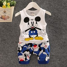 2017 Summer Children Clothes Set 2PCS Baby Boys Vest Clothes Kids Sleeveless Cartoon T-Shirt+Shorts Toddler Minnie Mouse Outfits(China)