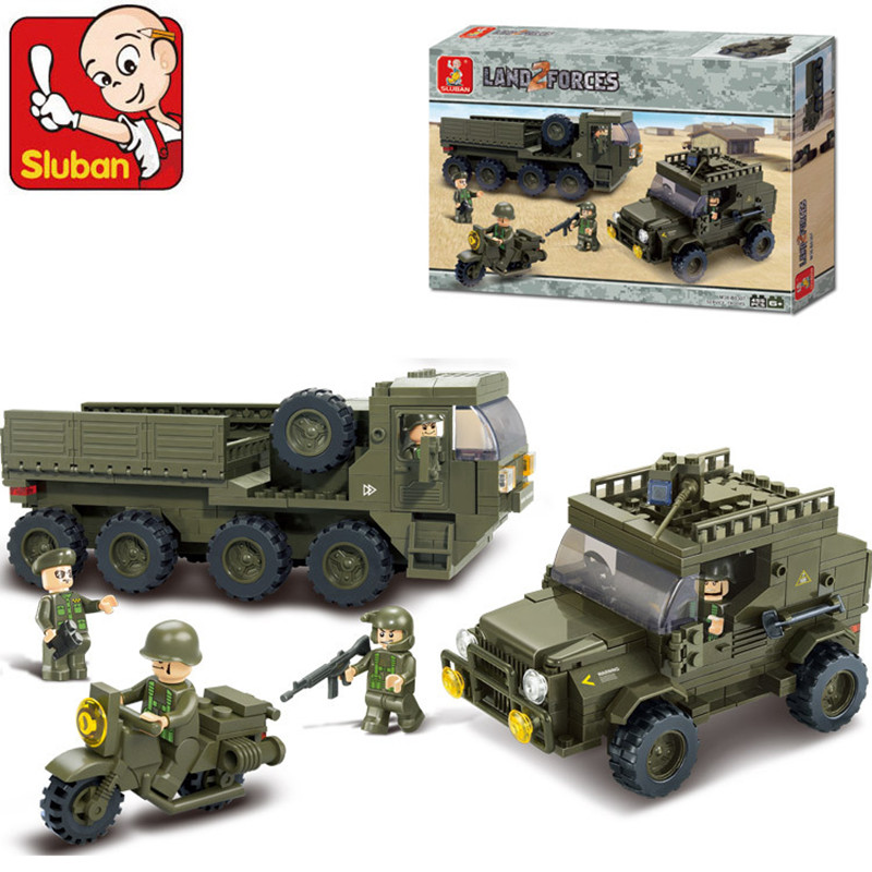 Sluban B0307 Army armored vehicles Jeep Motorcycles 3D Construction Plastic Model Building Blocks Bricks Compatible all brand(China (Mainland))
