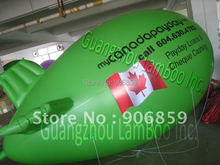 FREE SHIPPING 4m(13ft) Long Green Inflatable Blimp Zeppelin for your Promotion with different Logos