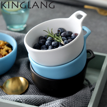 1pc Eating single Bowl with handle Restaurant creative glaze ceramic bowl dessertl bowl Steamed Rice salad bowl(China)
