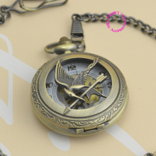 wholesale fashion lady women girl vintage hunger games pocket watch bird hour watches Coupon for wholesale price good quality