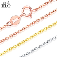 HELON Pure 18k Rose Gold /Yellow Gold/ White Gold Necklaces Wedding Party Women Link Chain For Pendant Lady Female Gift Trendy(China)