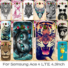 Silicone Plastic Phone Case For Samsung Galaxy Ace 4 LTE G357FZ Housing Cover Ace Style LTE G357 SM-G357FZ Cat Tiger Case Covers