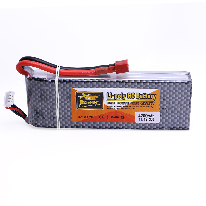 ZOP Power Lipo Battery 11.1V 4200mAh 3S 30C T/XT60/EC5/TRX Plug 1PCS for RC Helicopter Qudcopter Car Airplane<br>