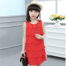 Fashion Girls Clothes 2017 Summer Kids Cake Cascading Dress Girl Pink Green Red Princess Vest Dresses For Party and Casual Life