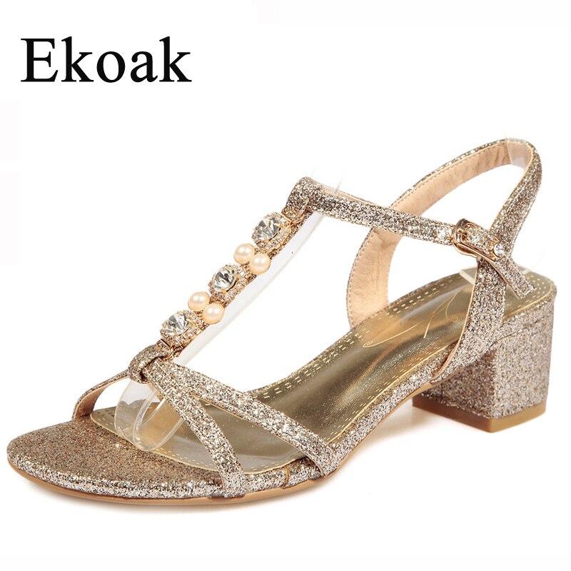 Ekoak New 2017 Fashion Women Sandals Summer Gold Silver Party Dress Shoes Ladies Sexy Rhinestone Bling High Heels Shoes Woman<br><br>Aliexpress