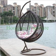 Outdoor black rattan hanging hammock chair with cushions