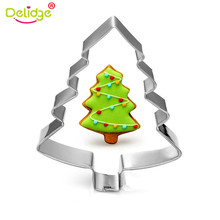 Delidge 1pc Stainless Steel Cookie Cutter Xmas Tree Santa Claus Snowflake Pattern Cake Pastry Biscuit Baking Mould DIY Cake Tool
