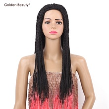 22inch 2X Twist Braids Wig Long Black Synthetic Hair Wig Golden Beauty(China)