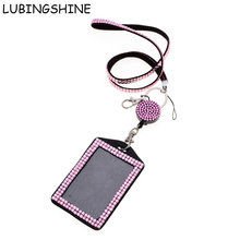 LUBINGSHINE Rhinestone Crystal Detachable Lanyard For Mobile Phone Accessories PU Leather Working Id Badge Covers Neck Straps