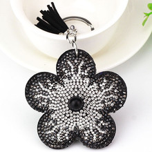 Novelty Key Chain Items Cute Key Cap Chain Rhinestone Leather Snow Flower Anime Key Cover Multi Colors Wholesale(China)