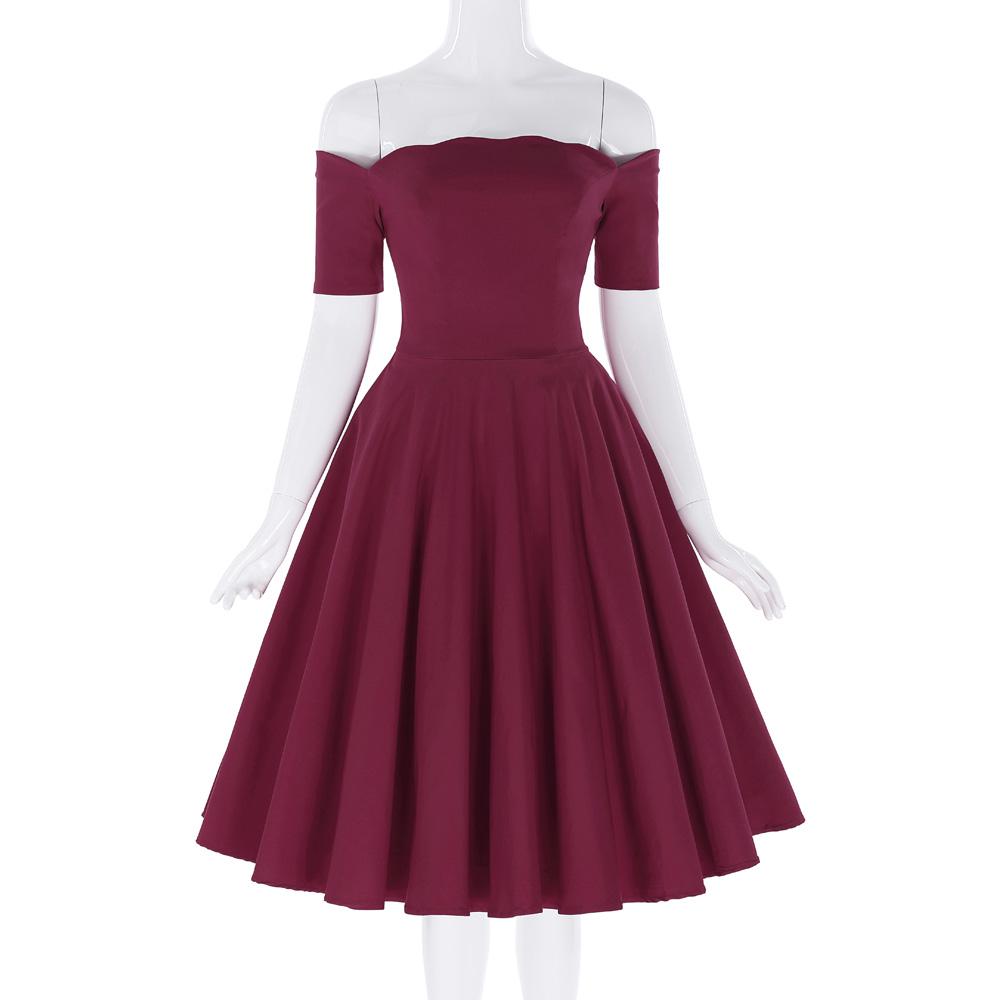 Belle Poque 17 Women Dress Robe Vintage Off Shoulder Black Summer Dress Jurken 1950s 60s Retro Rockabilly Swing Party Dresses 30