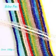 Free shipping multi color 2mm 198PCS Glass Czech crystal beads/Square crystal bead/ bracelet necklace Jewelry Making(China)