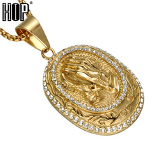 HIP Hop Iced Out Bling Full Rhinestone Praying Hands Men Pendants Necklaces Gold Color Big Prayer Jesus Necklace Jewelry(China)