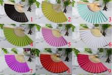 Free Shipping 100pcs/lot Nice paper hand fan+prited names&date wedding favor wedding fans 8colors for choice