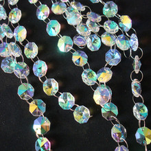 Bright 50m/lot AB Crystal Glass Octagon Beads Garland Strands For Wedding Home Easter Party Supplies Cake Topper Decoration(China)