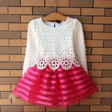 2017 Summer Girl Dress Children Girls's Clothing Set Spring Long Sleeve Party Striped White Pink Princess Dress