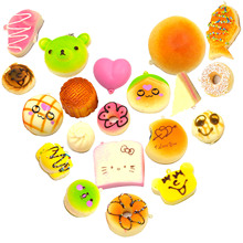 Besegad 10 PCS Cartoon Food Squishy Slow Rising Mobile Phone School Bag Hanging Strap Decoration with Hanging Strap Random Style(China)