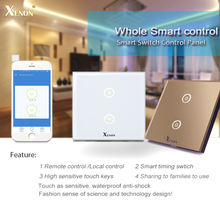 Manufacturer Xenon Wall Switch 110~240V Smart Wi-Fi Switch Button Glass Panel 2-gang Ivory White EU Touch Light Switch panel(China)