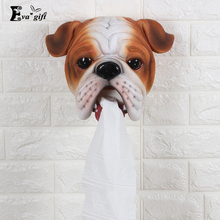 Resin Bulldog toilet paper box for bathroom wall tissue canister roll paper holder organizer funny Home Creative tissue box(China)