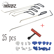 25pcs PDR Push Rods Auto Body Tools Dent removel T-bar slide hammer + 18 pcs Puller tabs Paintless Dent Repair Kits