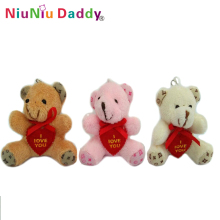 5.5cm Cute bear with heart keychain I love you bear 3 colors Plush toys wholesale 60pcs/lot