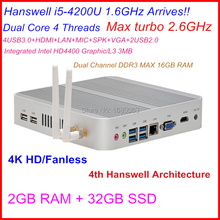 Cheap Linux Server HTPC Fanless Mini pc With Intel Core I5 4200U CPU 2G RAM 32G SSD Can Be Used As A IR Remote Control Medial PC