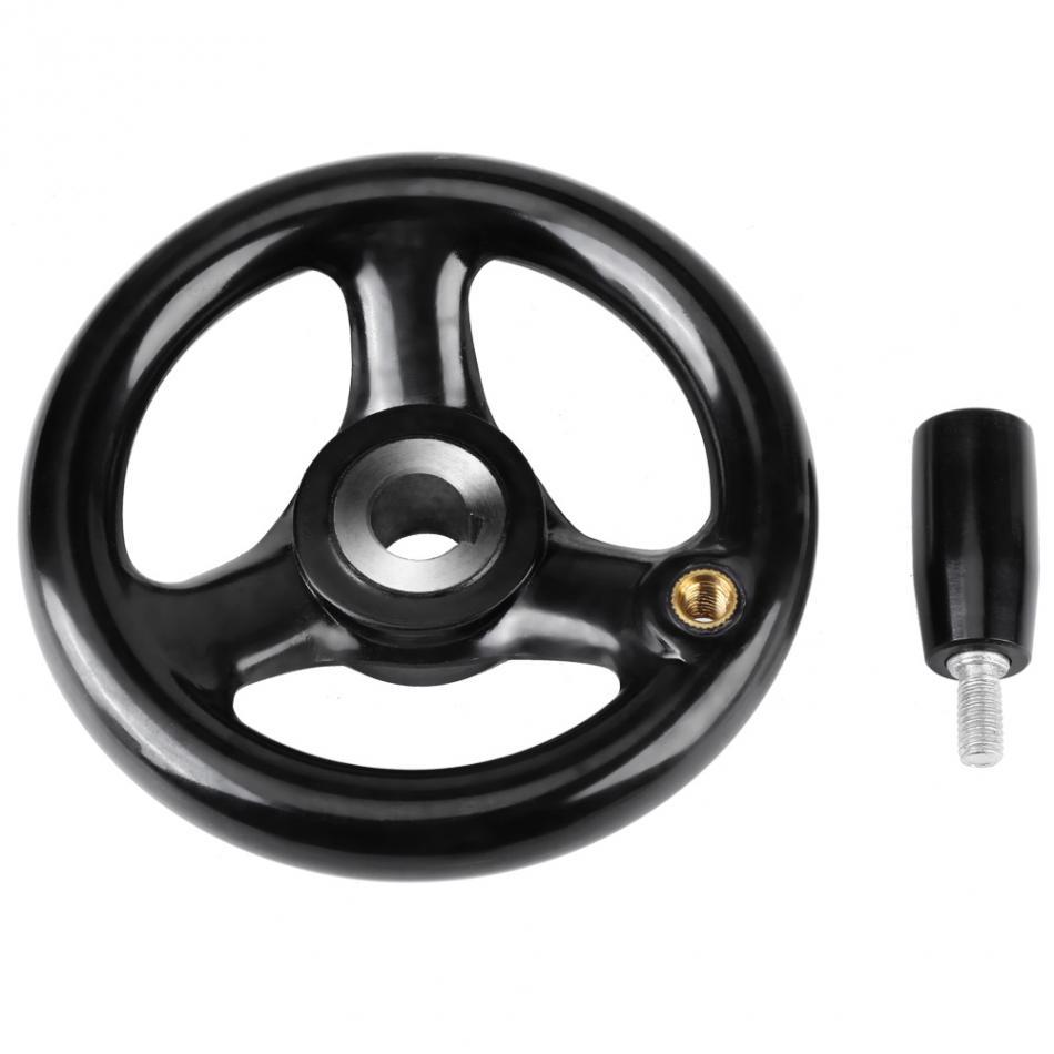 uxcell 9mmx125mm 3 Spoke Round Iron Handwheel Hand Wheel for Milling Machine