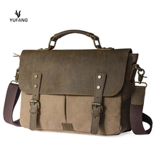 Yufang Men Vintage Canvas messenger bag crazy horse leather soft man travel bags retro school bag hasp military style handbag(China)