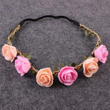1PC Fashion Lovely Kids Girl Handmade Rose Flower Headband Hairband Wreath Headdress Headwear Hair Band Accessories